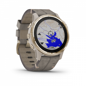 fēnix 6S - Pro Solar Edition   Light gold with shale grey suede band